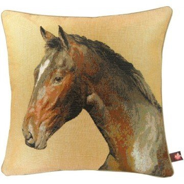 French Tapestry Horse Head Pillow - Beige
