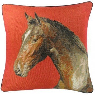 French Tapestry Horse Head Pillow - Red