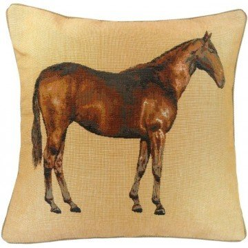French Tapestry Horse Pillow - Biege