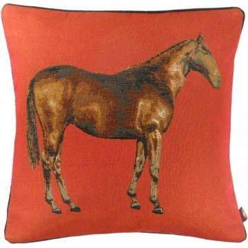 French Tapestry Horse Pillow - Red