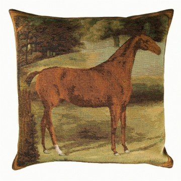 French Tapestry Horse Pillow - Scenic