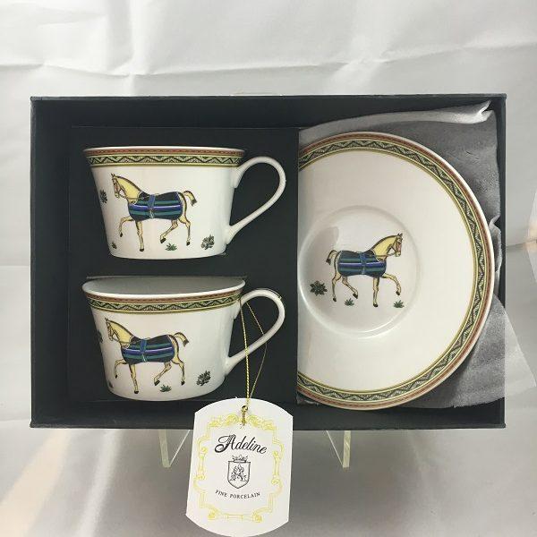 Aldeline Fine Porcelain Horse Tea Cup & Saucer Set in Gift Box