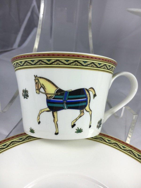 Aldeline Fine Porcelain Horse Tea Cup & Saucer - Front