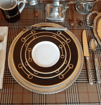 Cheval Black Table Setting With Legacy Pewter Charger and Cuttlery
